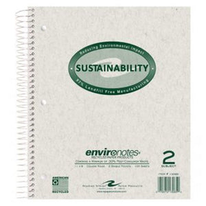 2 subject notebook with grey kraft cover and green cover imprint.