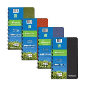 Stack of green, red, blue, and black spiral bound notebooks.