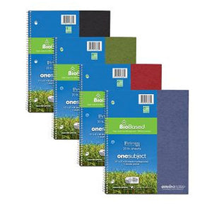 Stack of spiral bound notebooks in black, green, red, and blue.