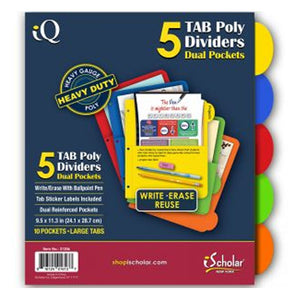 5-Pack Poly Tab Dividers