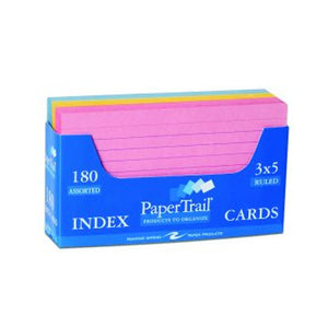 Pink, yellow, and blue index cards.