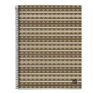 Spiral Notebook with cardboard cover printed with a design of black and white stripes across black diamond shapes.