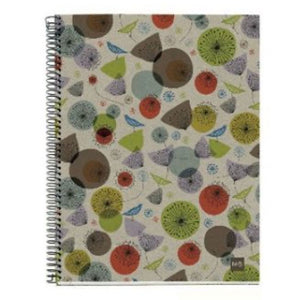 Spiral Notebook with cardboard cover printed with abstract birds and flowers.