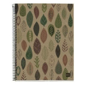 Spiral Notebook with cardboard cover printed with abstract leaves