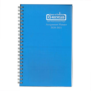 Coilbound planner with blue poly cover.