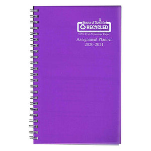 Coilbound planner with purple poly cover.