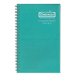 Coilbound planner with teal poly cover.