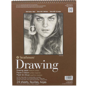 Top-spiral bound drawing pad with brown paper cover.