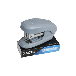 Grey mini stapler on top of a box of X-Acto standard staples.