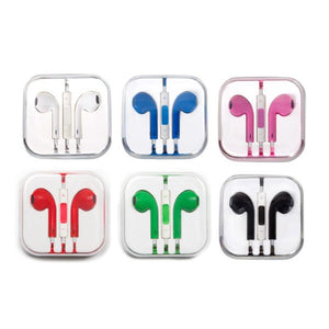 Six colors of Smash EarBuds: white, blue, pink, red, green, and black.