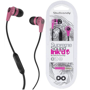 Pink  Skullcandy Ink'd Earbuds in packaging.