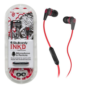 Red Skullcandy Ink'd Earbuds in packaging.