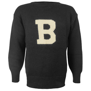 Black Knit Pullover Sweater with B