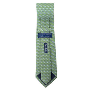 Back view of a mint green silk tie with an all-over imprint of the Hyde Plaza polar bear showing Vineyard Vines label and Bowdoin wordmark.