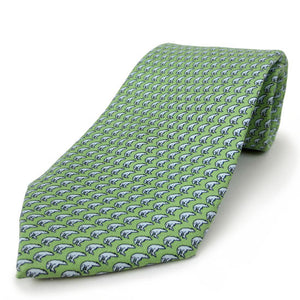 Mint green silk tie with an all-over imprint of the Hyde Plaza polar bear.