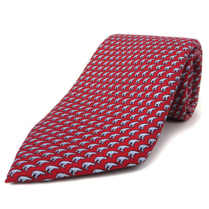 Red silk tie with an all-over imprint of the Hyde Plaza polar bear.
