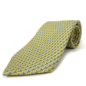 Yellow silk tie with an all-over imprint of the Hyde Plaza polar bear.