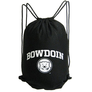 Black mesh back sack bag with white imprint of BOWDOIN arched over mascot medallion.