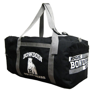Black duffle with silver straps. BOWDOIN arched over mascot over POLAR BEARS imprinted in white on the front pocket. ROGUE over BOWDOIN over GEAR imprint in white on side pocket.