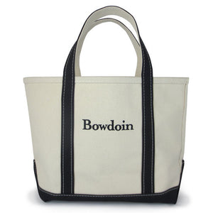 L.L.Bean classic natural canvas tote bag with black bottom and handles. The Bowdoin wordmark is embroidered in black on the front.