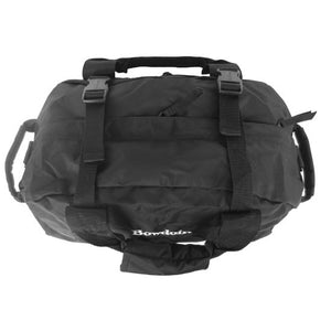 Top view of black duffle bag showing black plastic clasps and zippered top pocket.