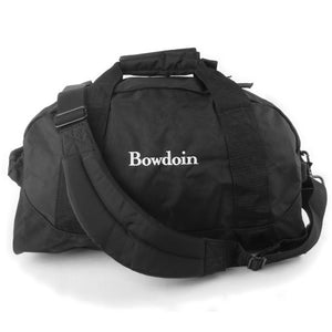 Small size black dufflebag with white Bowdoin wordmark embroidery on front.