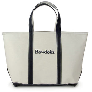 Large sized canvas tote bag with black handles and bottom, and the word BOWDOIN embroidered in black between the handles.