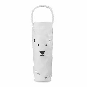 White wine bag with black imprint of bear ears, eyes, nose, mouth, and claws. Rope handle.