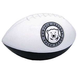 Half white, half black foam toy football. The white half has a medallion imprint of the polar bear with a gray border containing the text BOWDOIN COLLEGE POLAR BEARS.