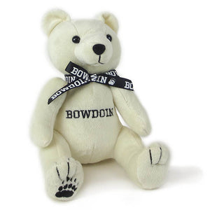 Ivory plush bear with black ribbon around its neck.