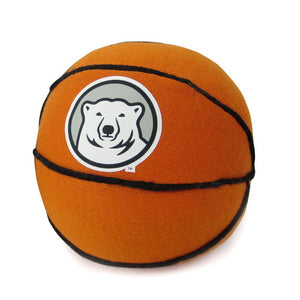 Mini stuffed basketball with mascot medallion imprint.
