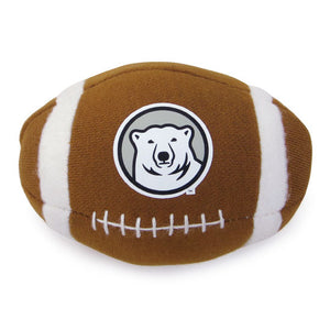 Mini stuffed football with mascot medallion imprint.