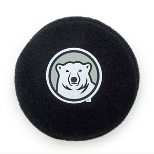 Mini stuffed hockey puck with mascot medallion imprint.