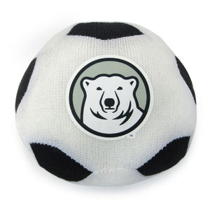 Mini stuffed soccer ball with mascot medallion imprint.