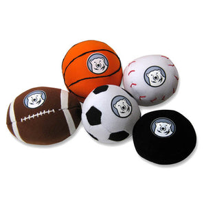 Mini Stuffed Bowdoin Sport Balls: Football, basketball, baseball, hockey puck, and soccer ball.