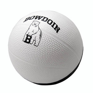 Foam toy basketball. Half black, half white. White half has arched BOWDOIN over mascot imprint in white.