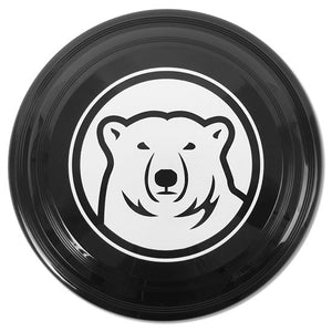 Black flying disc with white mascot medallion imprint.