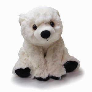 Ivory plush bear in sitting position with brown eyes, black nose and paws.