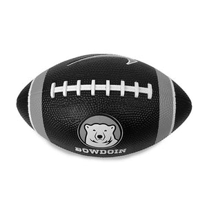 "Black plastic inflated toy football with white and grey stripes at either end, white ""stitching"" on top, and imprinted on one side with mascot medallion over BOWDOIN and on the reverse with a Nike Swoosh."