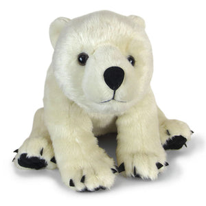 Ivory plush polar bear toy in a sitting position, front paws on the floor.