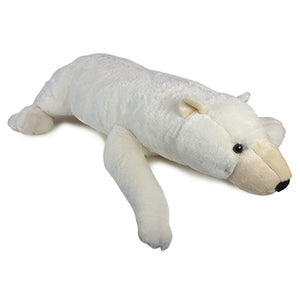 Plush polar bear toy lying on its stomach.