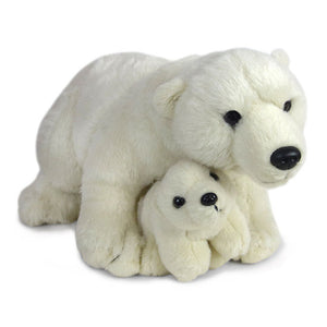 Plush polar bear with a smaller plush polar bear cub between its front paws.