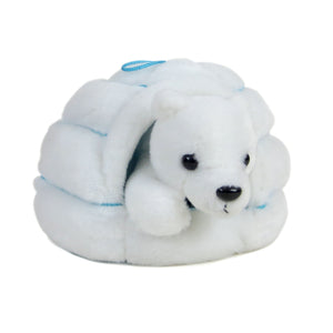 White plush igloo with blue stitch detail and hanging loop. Inside is a small white plush polar bear toy.