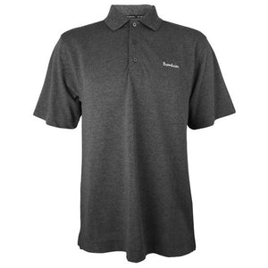 Heathered charcoal grey polo shirt with 3-button placket and white BOWDOIN wordmark embroidered on left chest.