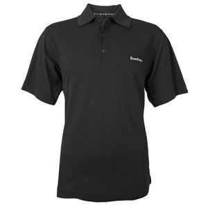 Black polo shirt with 3-button placket and white BOWDOIN wordmark embroidered on left chest.