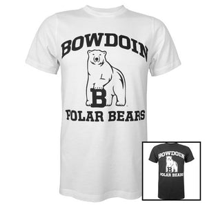 Picture of 2 Bowdoin Polar Bears T-shirts, one black and one white.