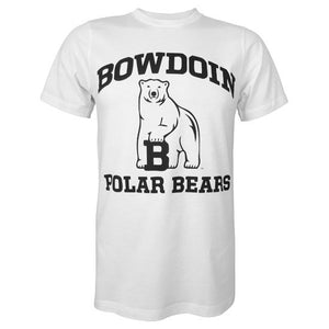 White short-sleeved T-shirt with black chest imprint of BOWDOIN arched over the polar bear mascot over the words POLAR BEARS.