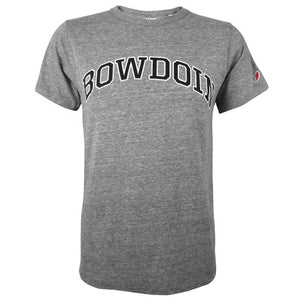 Heathered dark gray short-sleeved T-shirt with arched BOWDOIN in black with white stroke outline on chest. Small red and white League logo patch on left sleeve.