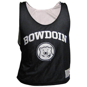 Black mesh sleeveless pinnie with white interior. White arched BOWDOIN over polar bear medallion on chest. Patch with garment size just above hem on left front of shirt.