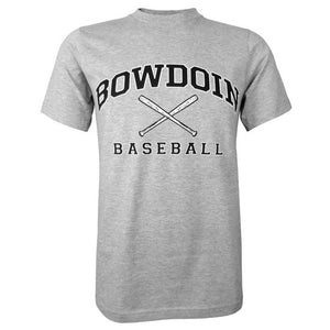Heather gray short sleeved T-shirt with BOWDOIN arched over crossed baseball bats with the word BASEBALL underneath.